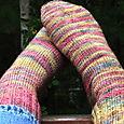 Pink Koigu socks for me