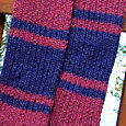 Ribbed and striped alpaca scarf for Red Scarf Project