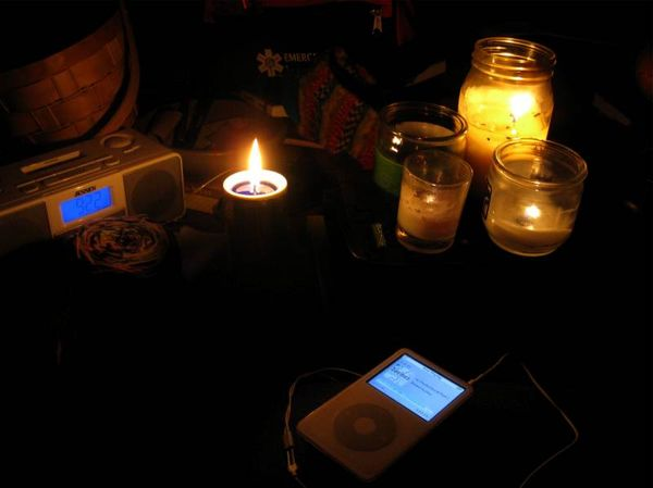 Knitting by candlelight