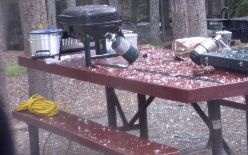 Fail picnic table hail