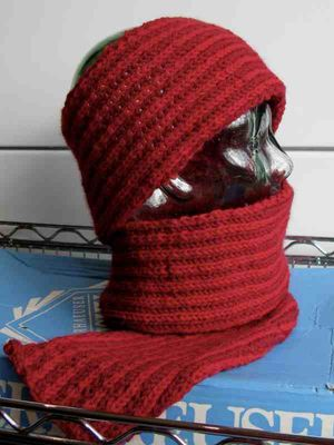 Red scarf nature spun