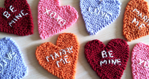 Knitted candy hearts