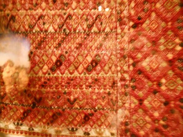 Hand-brocaded fabric.
