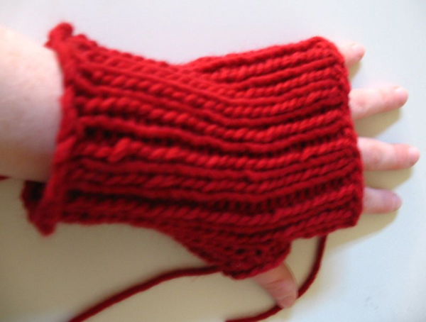 Red fingerless glove