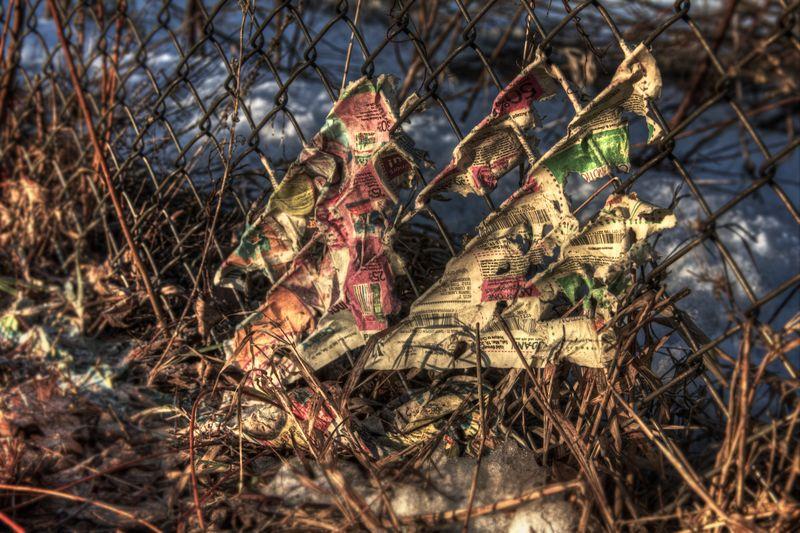 Chain link fence trash