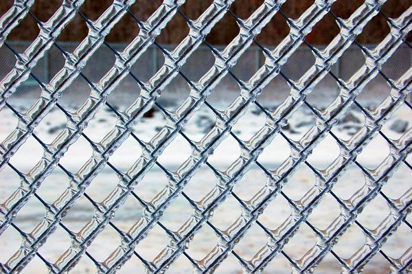 Chain link fence w ice