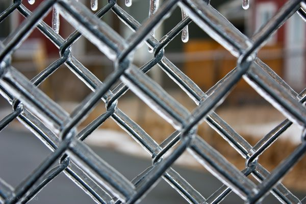 Chain link fence w ice close