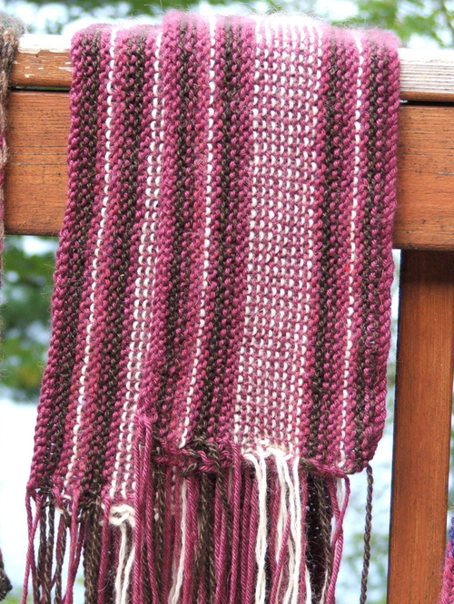 Chocolate-covered cherries scarf for the Red Scarf Project